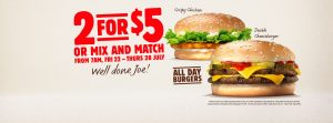 Burger King NZ 2 for $5