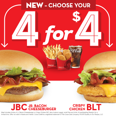 Deal Wendy S 4 For 4 Double Stack Junior Bacon Cheeseburger Crispy Chicken Blt Cheap Feeds